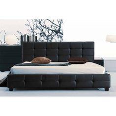 Κρεβάτι διπλό FIDEL από τεχνόδερμα PU σε χρώμα μαύρο 160x200εκ. E8053