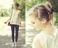 Sheer Top, Jeggings, Converse Shoes