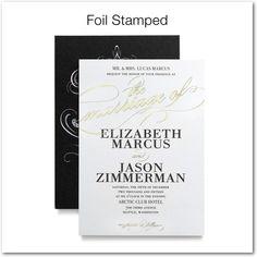 Modish Marriage - Signature Foil Wedding Invitations - East Six Design - Black : Front