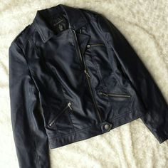 Dark blue vegan leather biker jacket Love this. Dark blue faux leather.  Pewter silver zippers and pulls. Great condition. Modeled in photo 4. I am a Small. INC International Concepts Jackets & Coats