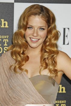 Rachel Lefevres long Irish red hairstyle with large loose curls