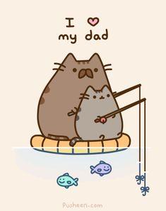 Pusheen love her's dad ! Pusheen the cat Nyan Cat, I Love Cats, Crazy Cats, Pusheen Love, How To Draw Pusheen, Pusheen Gif, Pusheen Unicorn, Pusheen Stuff, Chibi