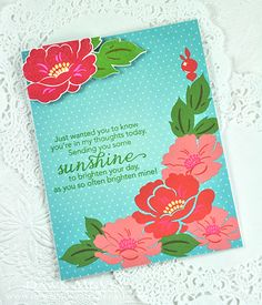 Sending You Sunshine Card by Dawn McVey for Papertrey Ink (July 2015)