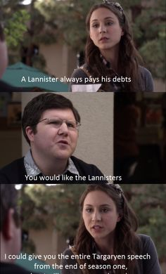 Pretty Little Liars s04e05 Game of thrones quote Spencer always pays her debts like a Lannister Nerdy Spencer