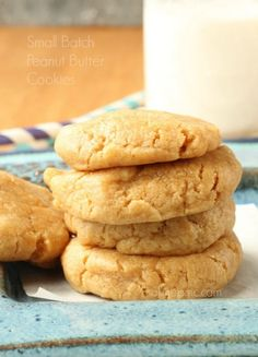 Small Batch Soft Peanut Butter Cookies -One pinner said this is the perfect Peanut Butter Cookie and perfect for portion control!