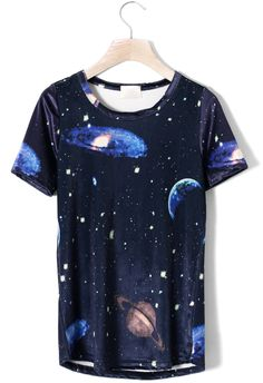 Galaxy Planet Print T-shirt - Short Sleeve - Tops - Retro, Indie and Unique Fashion