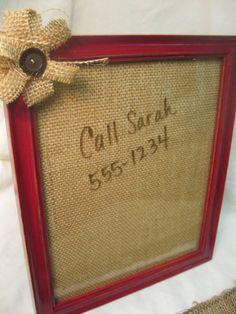Distressed Red Frame with Burlap Dry Erase Board  by 4onemore, $12.00