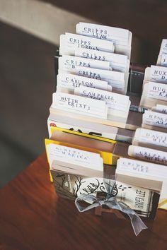 library cards tucked into books as escort cards, photo by Ameris Photography http://ruffledblog.com/victoria-art-gallery-wedding #weddingideas #seatingchart #escortcards