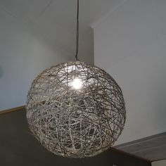 Extra large string lampshade using pilates ball or large balloon