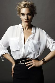 (Woman Crush Wednesday) Kate Winslet - Breakfast With Audrey - Kate-Winslet-Vanity-Fair-Italy-woman crush wednesday - Kate Winslet, Foto Cv, Vanity Fair Italia, Top Mode, Foto Fashion, Business Portrait, Mode Outfits, White Shirts, Female Portrait