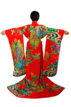 Vintage Japanese Red Kakeshita Wedding Kimono Bridal by CJSTonbo