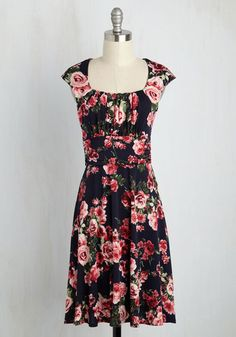 Romantic Remembrance Dress - Blue, Pink, Floral, Print, Casual, A-line, Short Sleeves, Spring, Knit, Good, Mid-length
