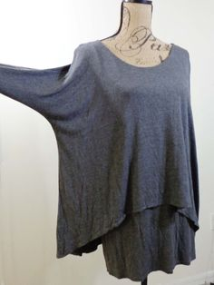 ART TO WEAR Lagenlook tunic top layered artsy gray quirky resort sz OS #AvaJames #Tunic #Casual