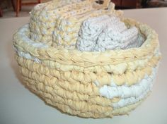rag bowls and crocheted washcloths-a must in this home