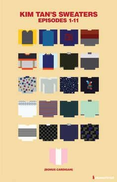 The Heirs: pixelated versions of Kim Tan's sweaters