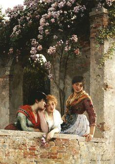 On the Balcony by Eugene de Blaas