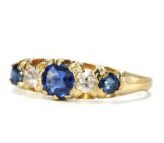 Edwardian Antique Symphony in a Diamond Sapphire Ring - The Three Graces