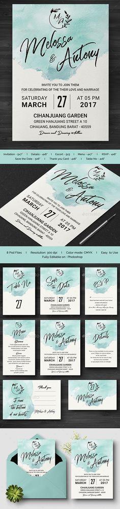 #Wedding #Invitation - Print Templates Download here: https://graphicriver.net/item/wedding-invitation/20227288?ref=suz_562geid
