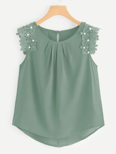 SheIn offers Crochet Pearl Beaded Sleeve Blouse & more to fit your fashionable needs. Blouse Styles, Blouse Designs, Sewing Clothes Women, Clothes For Women, Indian Blouse, Summer Blouses, Asymmetrical Tops, Green Fashion, Women's Fashion