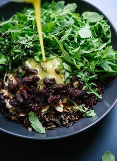 Wild rice and arugula salad with lemon dressing