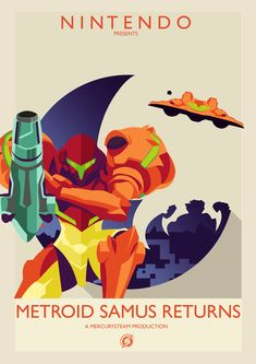 Celebrate her long awaited return with this awesome poster! This was made with simple geometry and vector illustration. Metroid Samus, Samus Aran, Metroid Prime, Video Game Anime, Video Game Art, Video Games, Sailor Mars, Sailor Venus, Nintendo Characters
