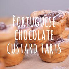 Tart Recipes, Sweet Recipes, Cooking Recipes, Best Nutella Recipes, Easy Desserts, Dessert Recipes, Portuguese Recipes, Portuguese Tarts, Chocolate Custard