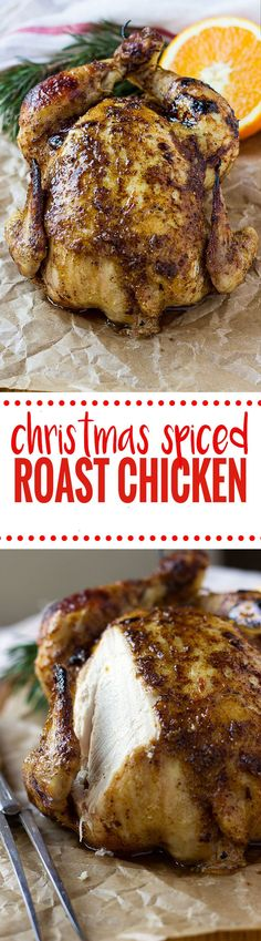 Christmas Spiced Roast Chicken! Succulent spiced christmas chicken sure to impress the harshest critic! Get the recipe at nutritionistmeetschef.com