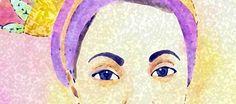 zoom em desenho de retrato feito em aquarela