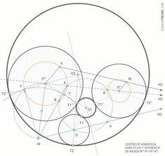 Circunferencias tangentes a tres circunferencias dadas. Problema de Apolonio · Dibujo Técnico Drawing Techniques