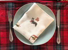 Excited to share this item from my shop: Linen Dinner Napkin, Holiday napkin, Table linen, Dog family gifts Oxygen Bleach, Red Design, Dinner Napkins, Winter Scenes, Family Gifts, Long Tops, Winter Collection, Linen Fabric, Cute Gifts