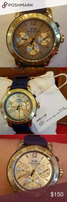 Coach Legacy Sports Watch Coach women's Legacy Sport chronograph gold tone case with blue silicone band.  Quartz movement & water resistant with easy to clean rubber strap.  This is gently worn with light nicks around dial and back of the case but none on the crystal face also no discoloration on band or watch case. Original box,  tag & manual included. Coach Accessories Watches