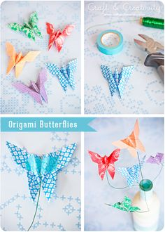 Origami butterflies on wire. For bookmarks or decoration. Paper Crafts Origami, Origami Paper, Diy Paper, Paper Art, Origami Ideas, Oragami, Origami Butterfly, Butterfly Party, Butterfly Crafts