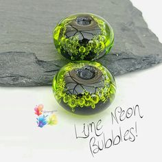 Lampwork Beads Neon Lime Bubbles per pair by GlitteringprizeGlass