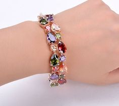 New Fashion High Quality Fashion Rose Gold Plated Multicolor Zircon Bracelet $16.93  Free Shipping!