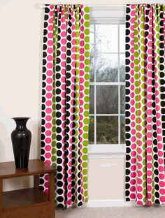 Fancy Curtains Polka Dot Curtains, Fancy Curtains, Drapes Curtains, Mid Century Modern Curtains, Contemporary Curtains, Kitchen Curtains, Fabric Wallpaper, Pink Candy, Bold Colors