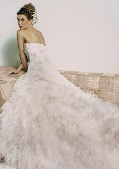 Feather Wedding Dress - A divine long and luscious feather wedding dress! #feather #wedding #dress #gown