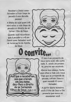 """Minha Herança"": * ""O Plano Perfeito"" Bible, Comics, Blog, Kids, Malaga, Kids Study, Sunday School Lessons, Children Ministry, Wordless Book"