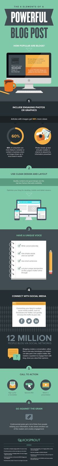 The 6 Elements of a Powerful Blog Post - #blogging #contentmarketing #infographic