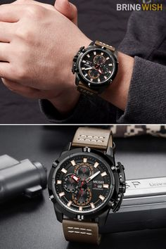 Stunning Affordable Fashion Chronograph Brown Leather Men's Watch // Gift For Him Latest Watches, Watches For Men, Men's Watches, Mens Watches Leather, Leather Men, Brown Leather, Brown Band, Military Men, Men's Collection
