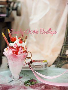 Strawberry Ice Cream Sundae as your Phone/Iphone plug/ by Funwithartz, $17.80