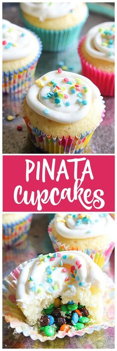 Pinata Cupcakes scream party time! With a fun surprise M&Ms center, these cupcakes will bring smiles to everyone. | mandysrecipeboxblog.com