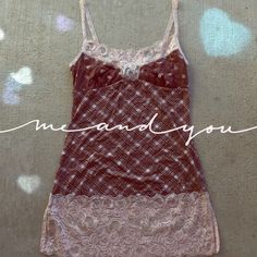 NEW Pink/Brown Lace Tank! Adorable pink/brown tank with lace!  Material is 100% Polyester! Size: Medium  Licorice  Tops Tank Tops