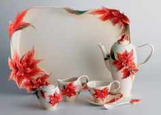 Franz Porcelain - Poinsettia design