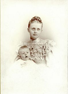 Mother and Child, Bright Sunny Day, Trimmed Cabinet Card by depthandtime, via Flickr