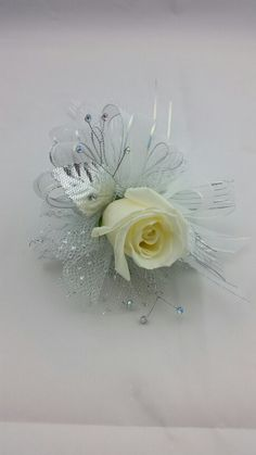 White Rose Corsage with Silver and White Accent