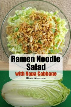 Ramen Noodle Salad with Napa cabbage slivered almonds and Asian dressing is a potluck dinner favorite! Ramen Noodle Salad with Napa cabbage slivered almonds and Asian dressing is a potluck dinner favorite! Napa Salad, Napa Cabbage Salad, Chinese Cabbage Salad, Vegetarian Recipes Dinner, Dinner Recipes, Napa Cabbage Recipes, Ramen Noodle Salad, Ramen Noodles, Oriental Salad