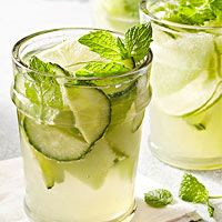 Cucumber HoneyDew Sangria: 1 small honeydew melon 1 seedless cucumber, thinly sliced 1 lime, thinly sliced 12 fresh mint leaves 1/4 cup lime juice 1/4 cup honey 750 ml bottle Sauvignon blanc 1 bottlecarbonated water, chilled Fresh mint sprigs