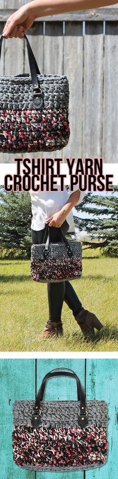 This cute handmade bag is crocheted from t-shirt yarn. The free crochet pattern with pictures makes it easy to learn.