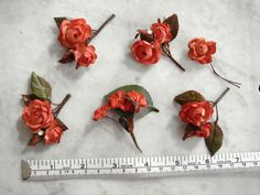 Vintage 1950's millinery flower 6 pc asst tiny flowers coral red rhinestones #1