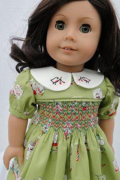 Christmas Hand Smocked dress for American girl doll.
